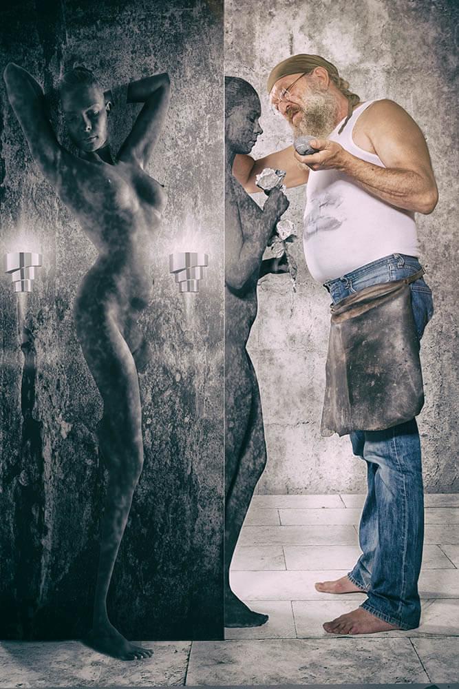 Fotograf-Fotostudio-Dresden-Bildhauer-Projekt-Skulptur-Stein-Hammer-Meißel-Statue